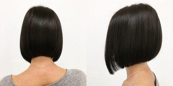 Стрижка на средние волосы черный цвет