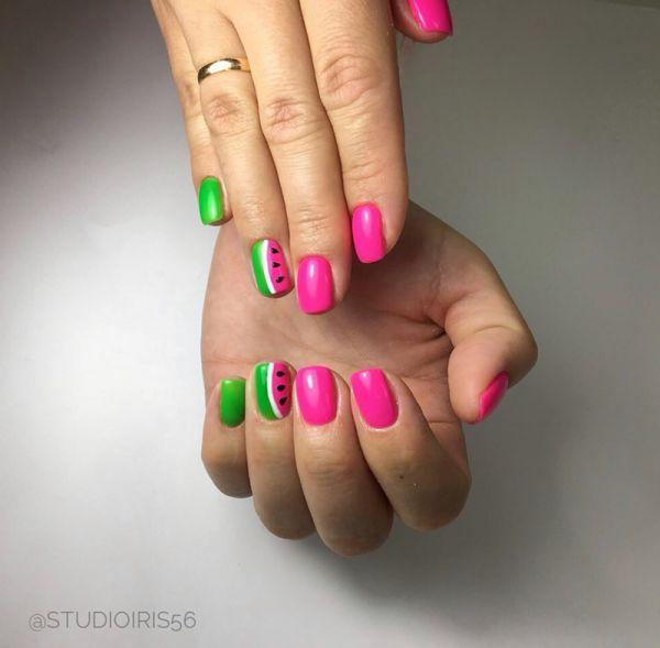 Дизайн арбуз ногти