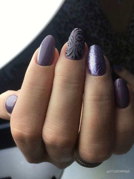 фиолетовый маникюр роспись