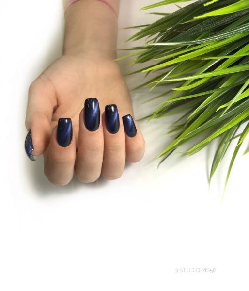 Темно - синий маникюр